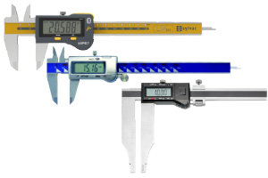 Digital calipers as standard or precision model.  Measuring ranges up to 2000 mm. Caliper with or without cross points. Digital Precision Calipers in special forms for different applications.