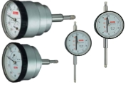 Small dial gauges with outer ring diameter 40 mm, measuring range 5 mm or 10 mm. Käfer dial gauges with graduation 0,1 mm and measuring ranges from 3 mm to 50 mm. Large dial gauges with outer ring diameter 80 mm or 100 mm and measuring ranges from 10 and 20 mm. Dial gauges with large clock face for easy reading even from a distance.