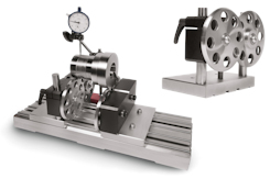 Concentricity tester mit steel-base according to DIN876/1 incl. rolling block and measuring stand. One rolling block heigh adjustable for adjusting different workpiece diameter. Hardened rolling discs with ball bearings, concentricity accuracy +/- 0,0025 mm.